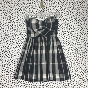 Topshop Petites Strapless Plaid Dress with Bow